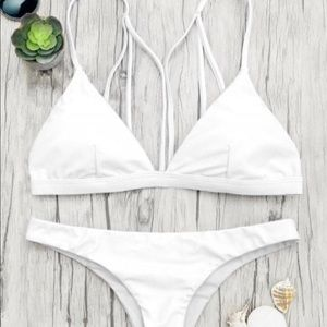 Zaful white cheeky triangle bikini set
